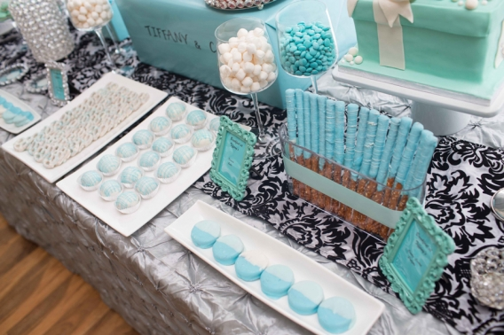 this week im posting pictures of a dessert table i did for a breakfast at tiffanys themed bridal shower thanks to my ever so awesome photographer